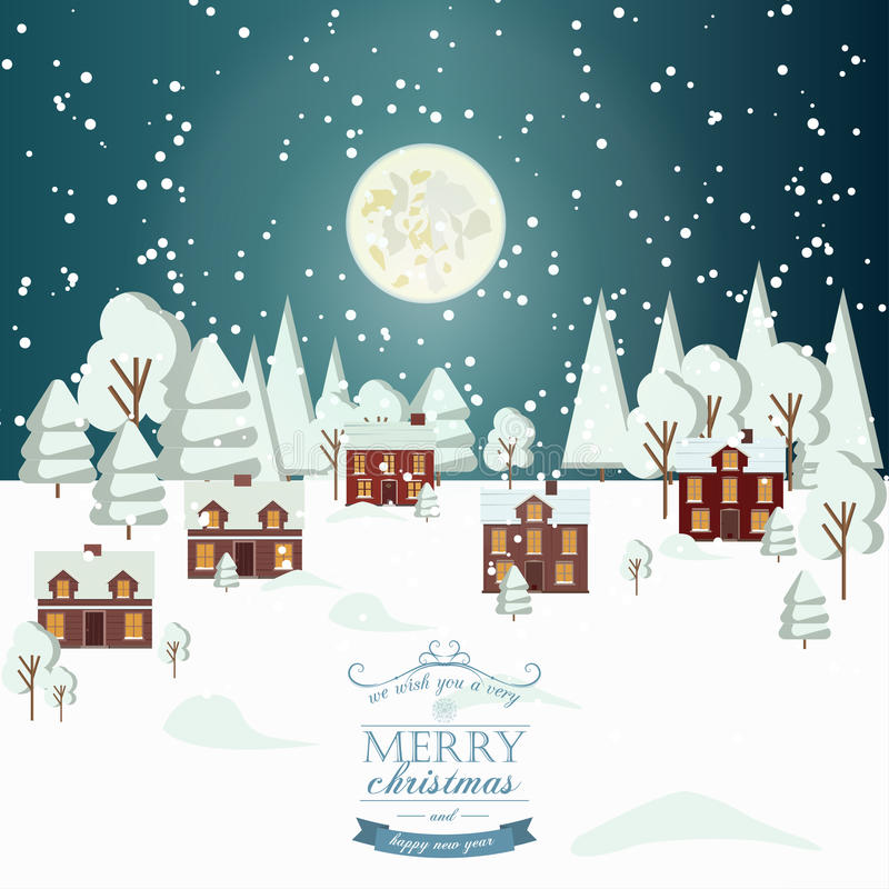 Winter Snow Urban Countryside Landscape City Village Real Estate New Year Christmas Night Background Modern Flat Design Icon Templ royalty free illustration