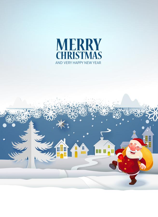 Santa with gifts poster vector illustration