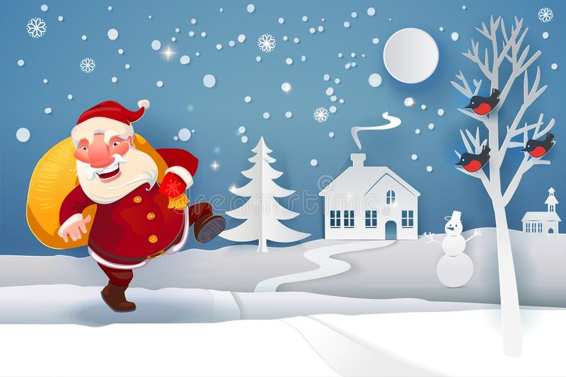 Santa Claus with gifts going to house vector illustration