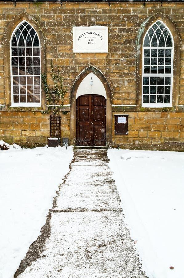 Winter Snow-Wesleyen Chapel-Lealholme-North Yorkshire-England fotografia stock libera da diritti