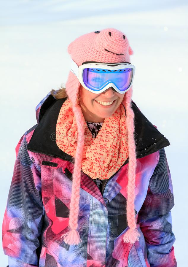 Winter snow woman portrait stock image