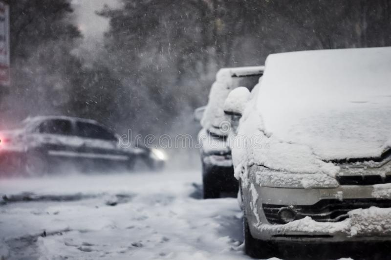 Snowfall, blizzard, storm, out of focus royalty free stock photo