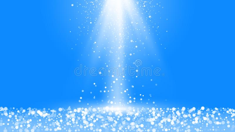 Winter snowfall with blurred elements. Festive vibrant background with snow and shiny rays. Vector illustration isolated on blue. Background stock illustration