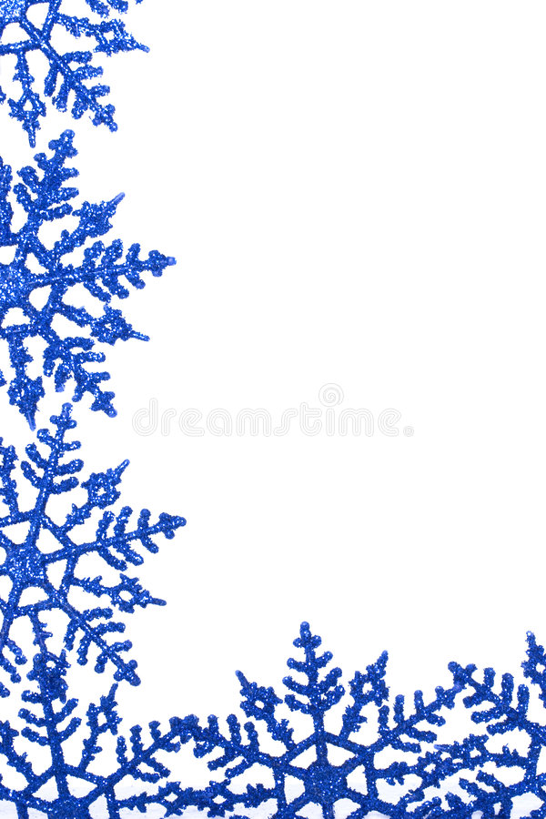 Winter snowflake background. Winterly background with bright blue snowflakes isolated on white background stock photography