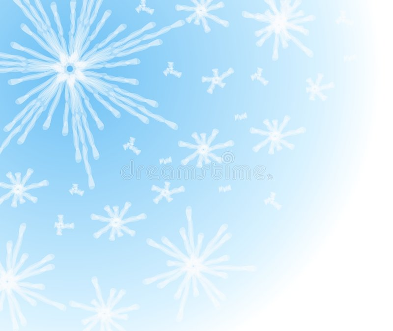 Winter Snowflake Background. A clip art background illustration of a snowflake background in gradient blue and white colors stock illustration