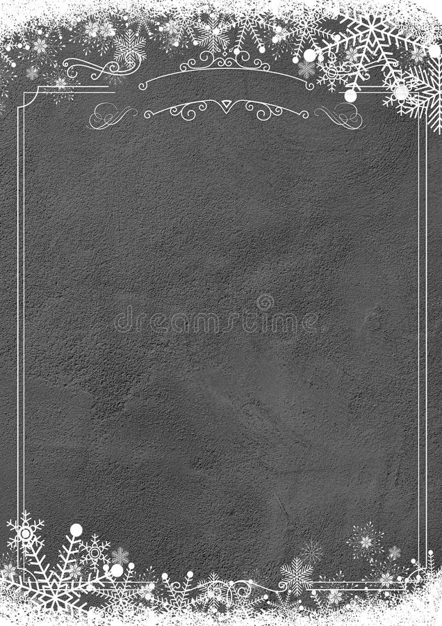 Winter snowflake retro border and grunge textured wall background stock photography