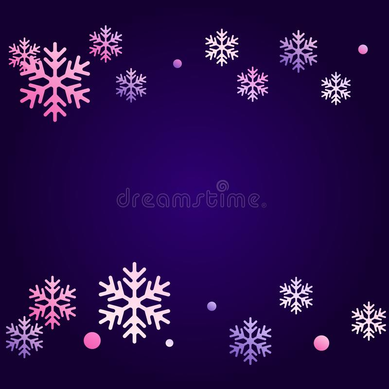 Winter snowflakes and circles border vector illustration stock illustration
