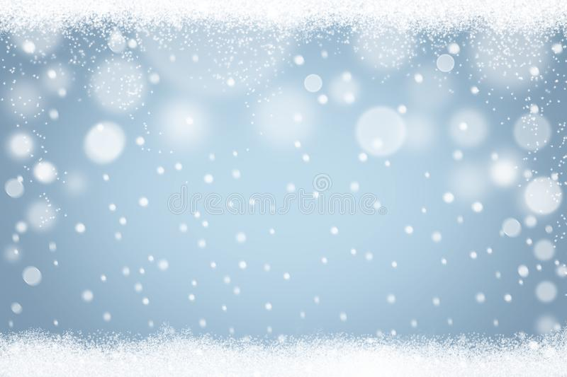 Winter snowflakes light blue bokeh background. Abstract Christmas holiday snow backdrop. Winter snowflakes light blue bokeh background. Abstract Christmas stock illustration