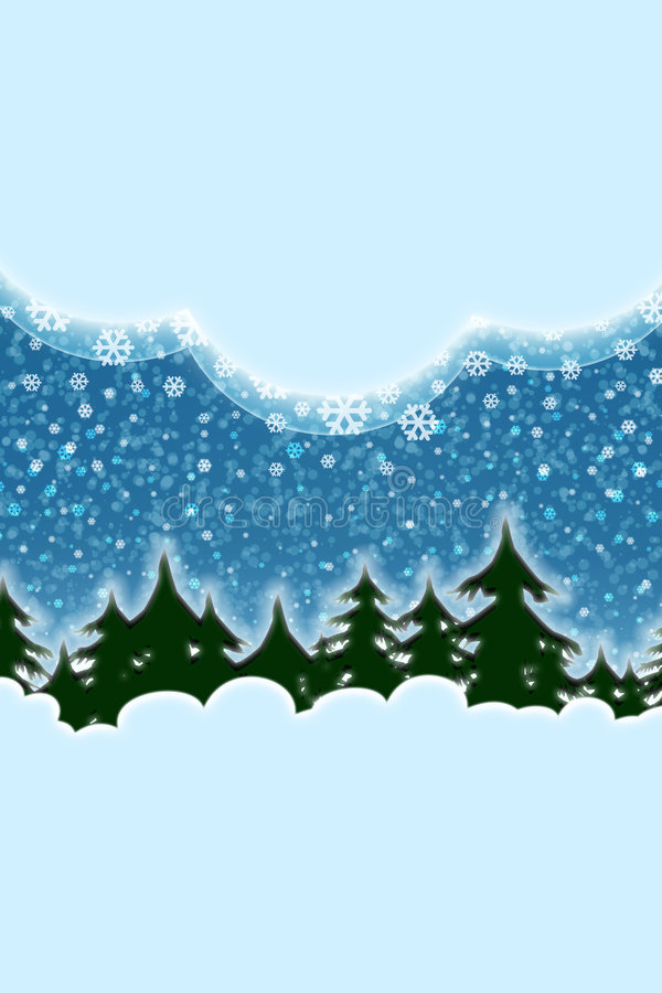 Winter snowing, christmas scenery royalty free illustration