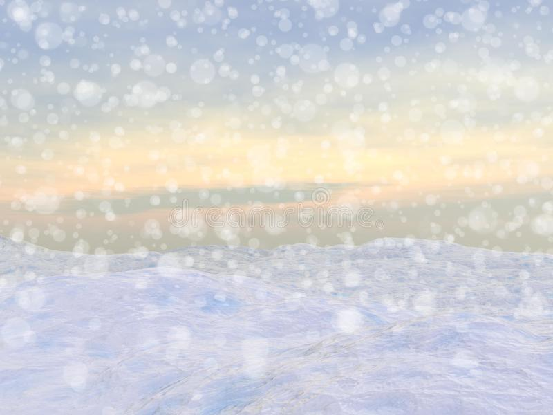 Winter snowing landscape - 3D render stock illustration