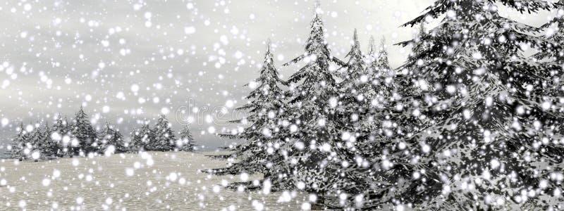 Winter snowing landscape - 3D render stock illustration