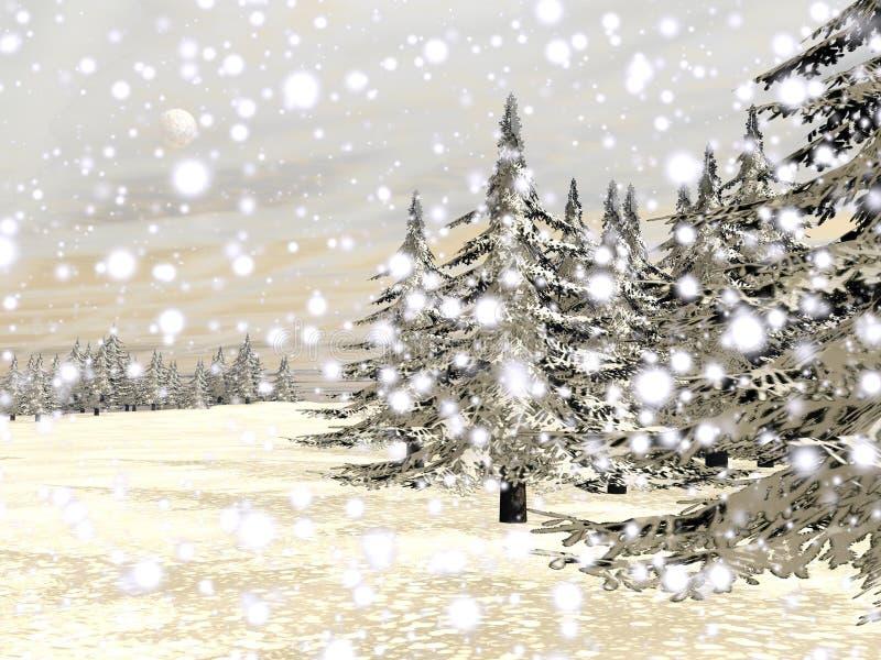 Winter snowing landscape - 3D render royalty free illustration