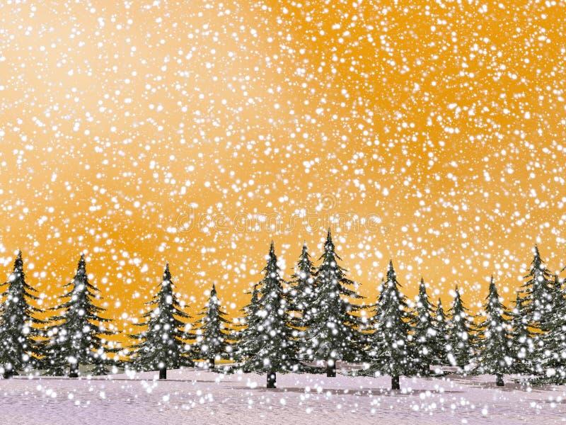 Winter snowing landscape - 3D render vector illustration