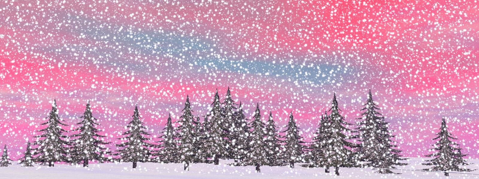 Winter snowing landscape - 3D render royalty free illustration