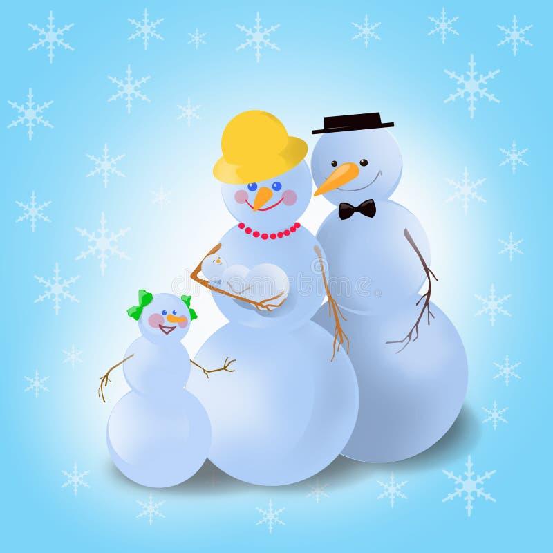 Winter snowman family stock photo
