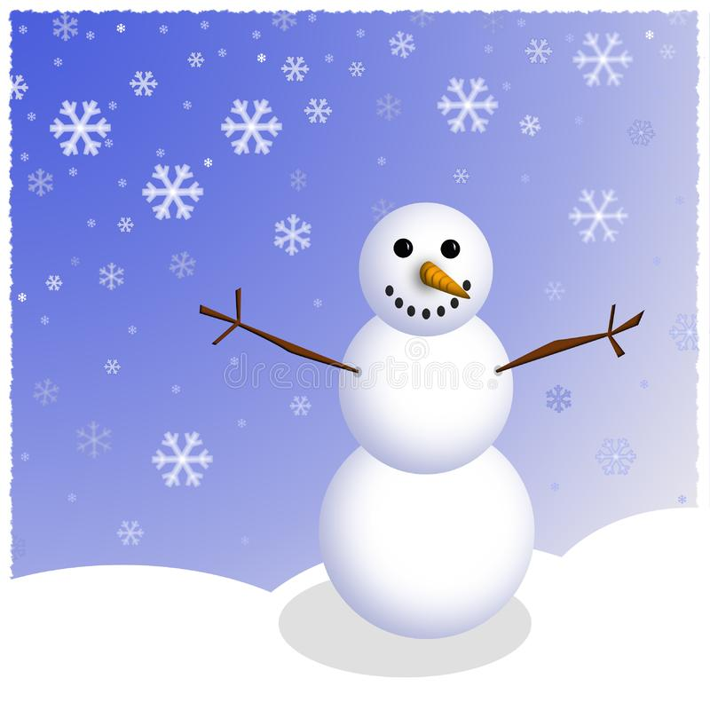 Winter Snowman Scene royalty free stock photo