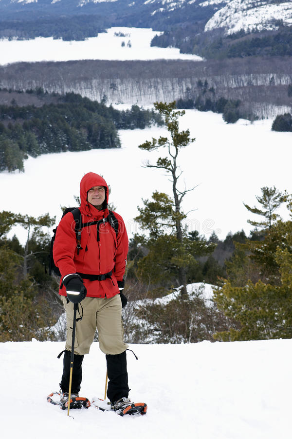 Free Winter Snowshoe Hiking - A Natural High Royalty Free Stock Images - 29476449
