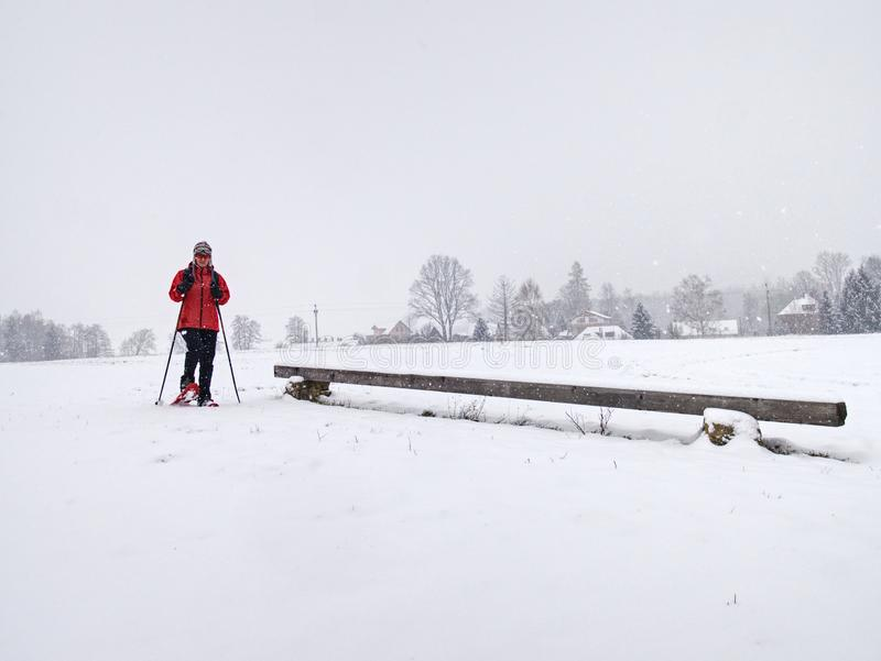 Winter snowshoing in fresh snow. Woman walk while snow fall. Winter snowshoing in fresh snow. Woman walk whiel snow falling from heavy grey clouds, windy cold royalty free stock photography