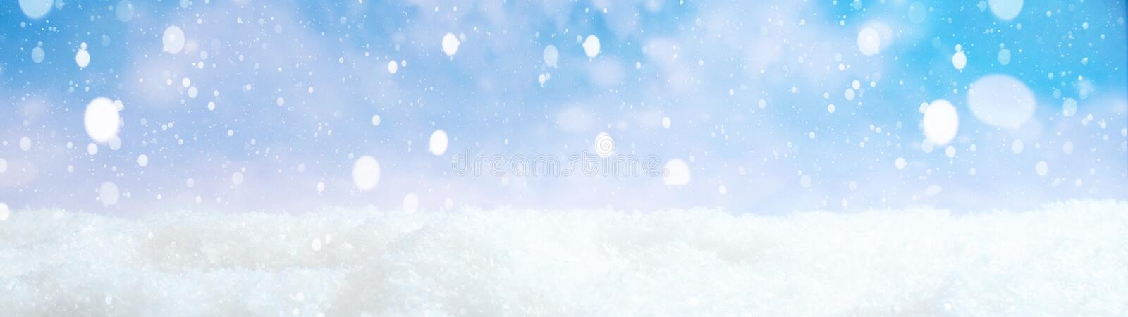 Winter snowy background panorama long- blue sky with snowflakes stock illustration