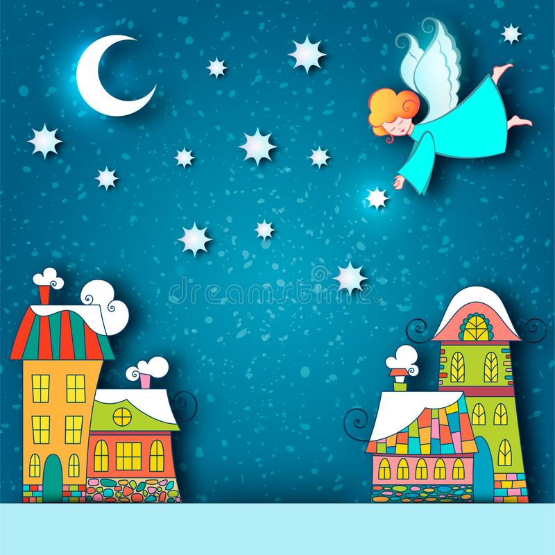Winter snowy city landscape. Christmas background with fairy tale houses and angel with stars and moon in the sky at holiday eve. royalty free stock photo