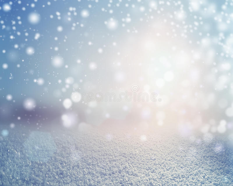 Winter snowy landscape background. Snowfall outdoor scene with empty space stock images
