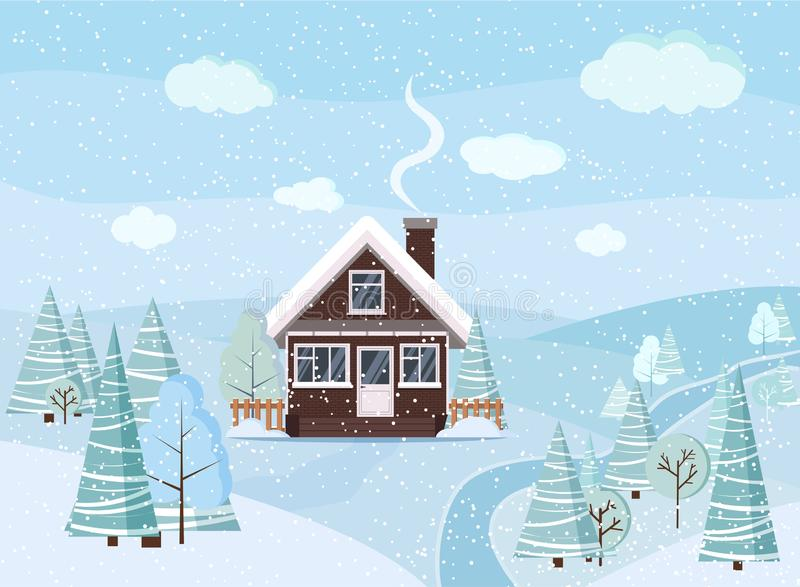 Winter snowy landscape scene with brick house, winter trees, spruces, clouds, river, snow, fields in cartoon flat style, Christmas stock photo