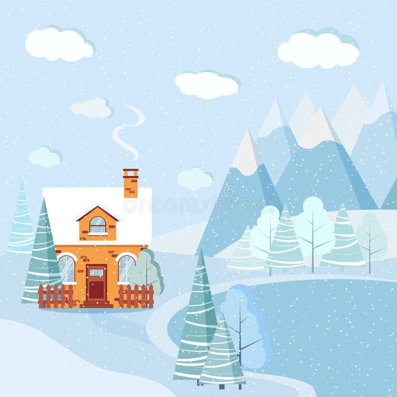 Snowy Peaks Christmas Tree Farm: Frozen Lake Stock Illustrations