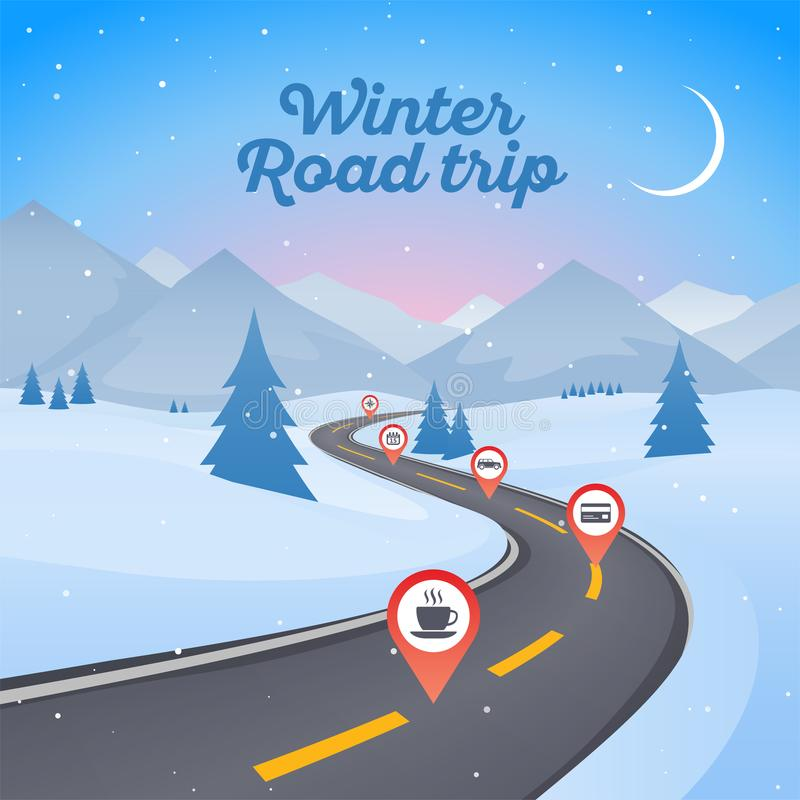 Winter snowy landscape with winding road pathway. New Year background stock illustration