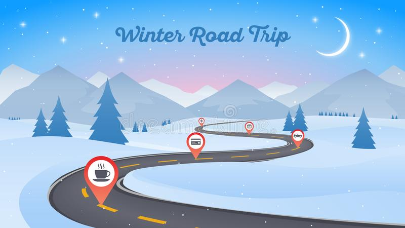Winter snowy landscape with winding road pathway 16x9. New Year vector illustration