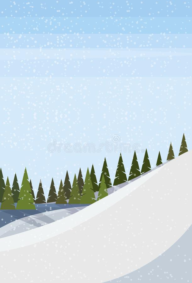 Free Winter Snowy Mountain Hill Fir Tree Forest Landscape Background Vertical Flat Royalty Free Stock Images - 132620789