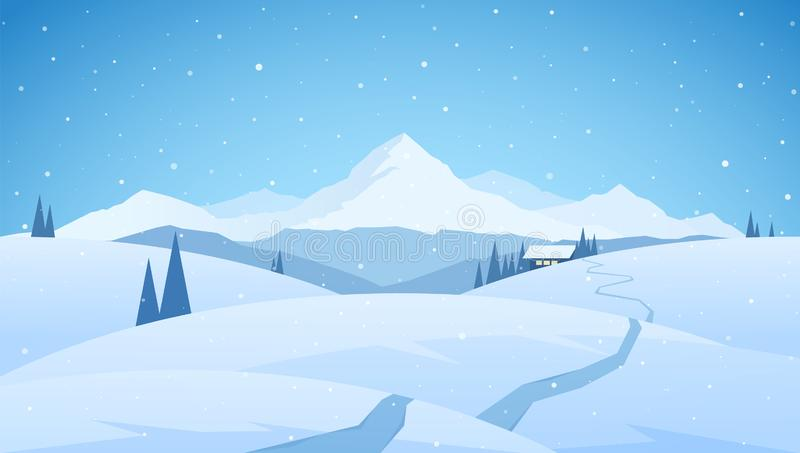 Winter snowy mountains flat landscape with path to cartoon house. Christmas background. Vector illustration: Winter snowy mountains flat landscape with path to royalty free illustration