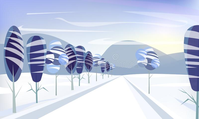 Winter snowy Mountains landscape with road, trees and hills. royalty free illustration