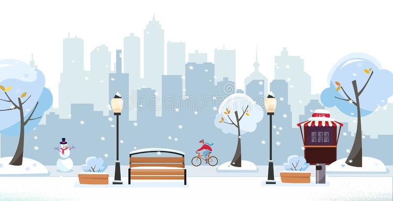 Winter snowy park. Public park in the city with Street Cafe against high-rise buildings silhouette. Landscape with cyclist, vector illustration
