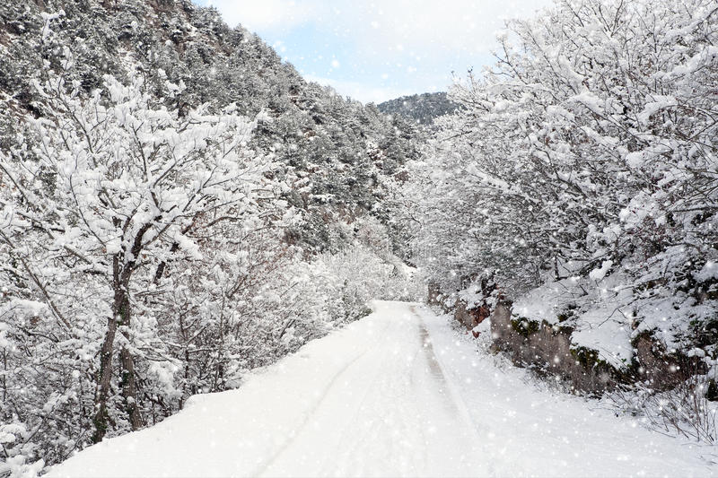 Download Winter snowy road stock photo. Image of environment, path - 28600070