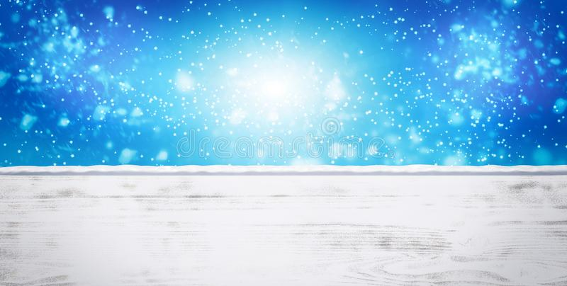 Winter snowy shiny blurred background. White snow drifts, empty snow-covered wooden platform stock photo
