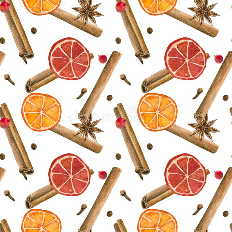 Winter spices. Cinnamon roll, oranges, star anise, clove, pepper. Seamless pattern. Hand drawn watercolor illustration. Winter spices. Cinnamon roll, oranges stock illustration