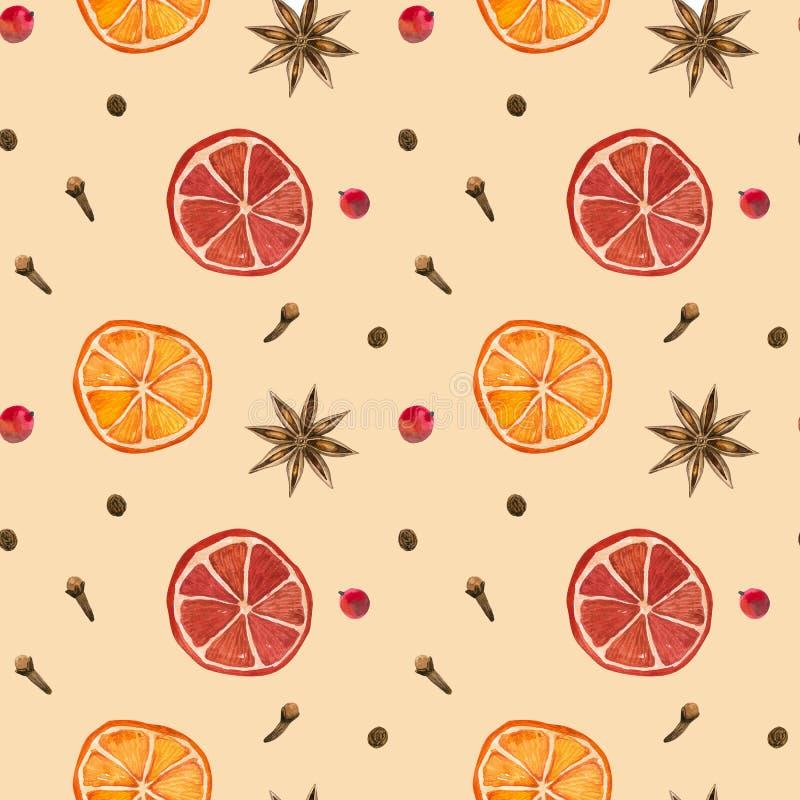 Winter spices. Oranges, star anise, clove, pepper. Winter spices. Cinnamon roll, oranges, star anise clove pepper vector illustration