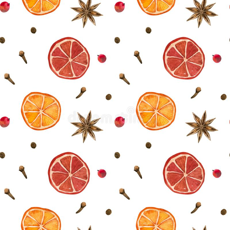 Winter spices. Oranges, star anise, clove, pepper. Seamless pattern. Hand drawn watercolor illustration. Winter spices. Oranges, star anise clove pepper stock illustration