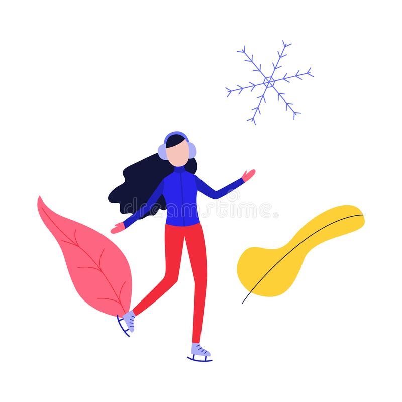 Winter sport and active leisure concept with young woman in warm clothes skating. Winter sport and active leisure concept with young woman in warm clothes stock illustration