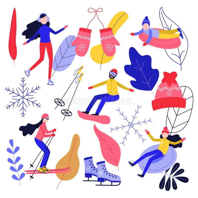 Winter sport and active leisure set with people riding skates and snowboard and having fun on snow tube and ski. royalty free illustration