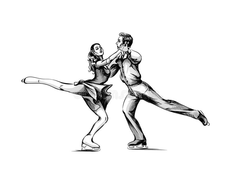 Winter sport Figure skating young couple skaters hand drawn sketch royalty free illustration