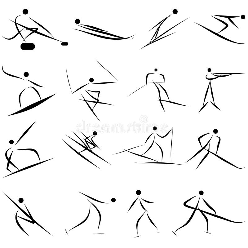 Download Winter sport icon set stock vector. Image of collection - 26821719