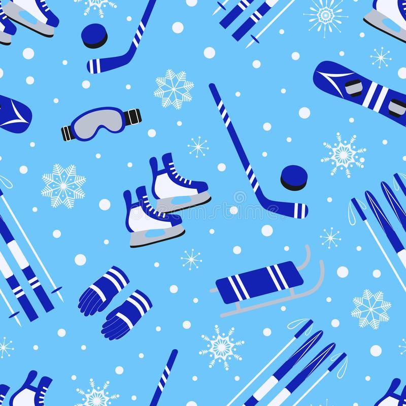 Winter-Sport-nahtloses Muster Saisonfreienhintergrund Vektorentwurf der zur Schau tragenden Ausrüstung Nette kindische Wiederholu stock abbildung