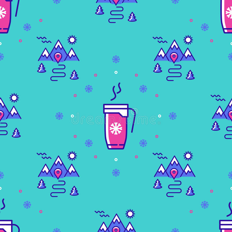 Winter sport seamless pattern, landscape repeat background, hot drinks icons. Winter sport seamless pattern. Winter landscape repeat background. Trendy thin line stock illustration