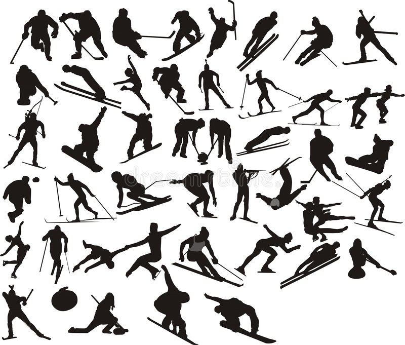 Winter sport silhouette stock illustration