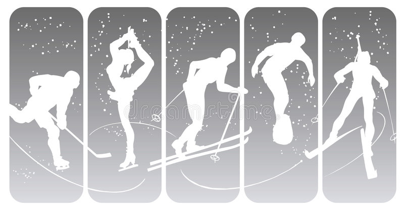 Winter sport silhouettes vector illustration