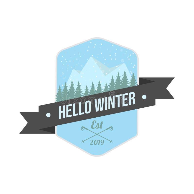 Vintage ski or winter sports logo badge emblem vector image vector illustration