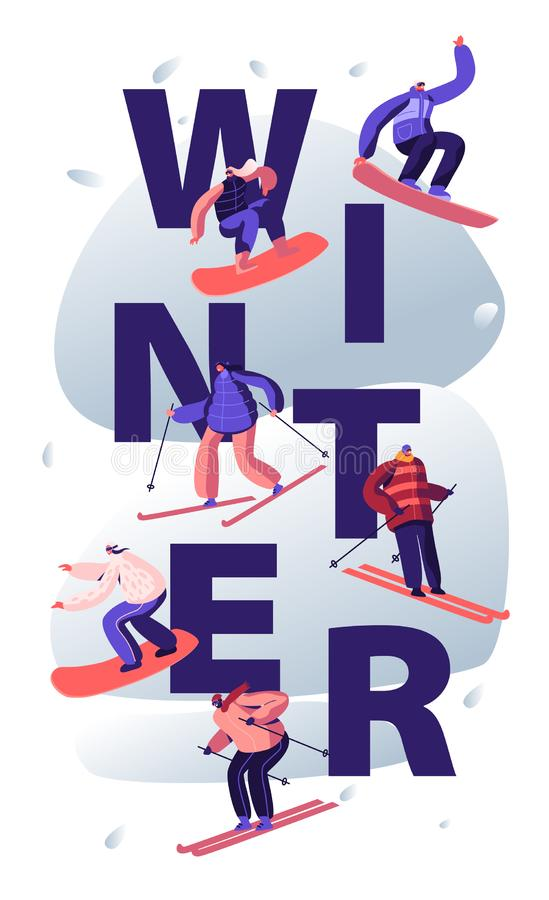Winter Sports Activity Concept. Young People Wearing Warm Sportive Costume Outdoors Leisure. Wintertime Sport Skiing royalty free illustration