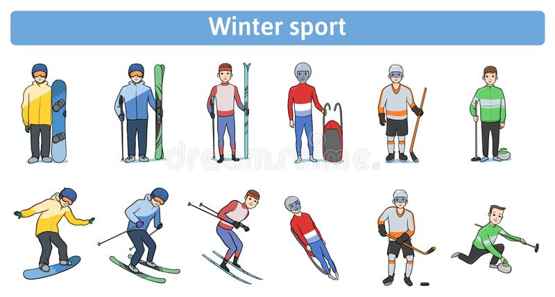 The winter sports. Winter activity outdoors. Athletes standing and in motion. Downhill and cross-country skiing vector illustration