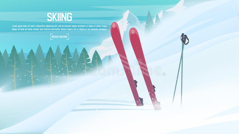 Winter sports - alpine skiing. Sportsman ski slope down from the mountain stock illustration